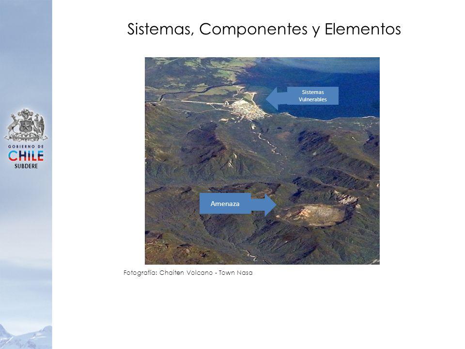 SUBDERE Sistemas Vulnerables Amenaza Sistemas, Componentes y Elementos Fotografía: Chaiten Volcano - Town Nasa