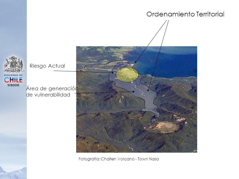 SUBDERE Ordenamiento Territorial Riesgo Actual Área de generación de vulnerabilidad Fotografía: Chaiten Volcano - Town Nasa
