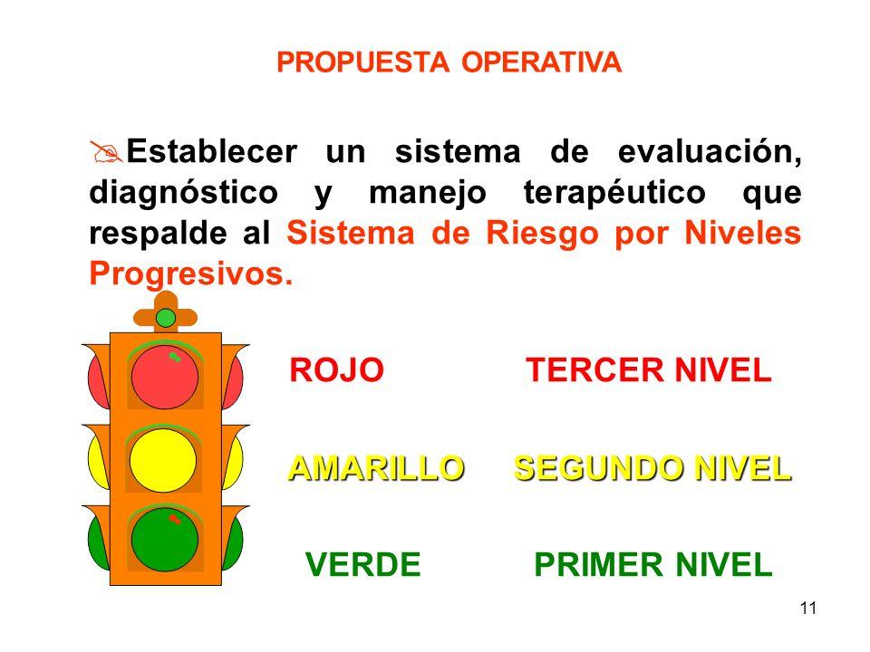 10 PROPUESTA OPERATIVA Crear un sistema de detección, evaluación y clasificación de Riesgo Perinatal VERDE RIESGO BAJO AMARILLO RIESGO MEDIO ROJO RIES