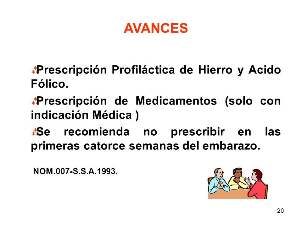19 Que se establezca un Sistema de Prevención para el uso racional de Medicamentos en el embarazo y el parto. ROJO RIESGO ALTO CLASIFICACION X AMARILL