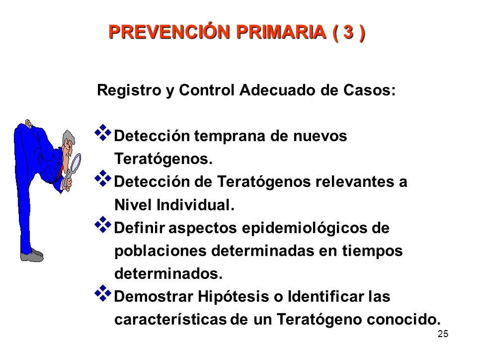 24 Estableciendo Medidas Preventivas Específicas Posponer o evitar el Embarazo en parejas con Riesgo Alto. Vacuna Antirubeola a Prepúberes. Administra