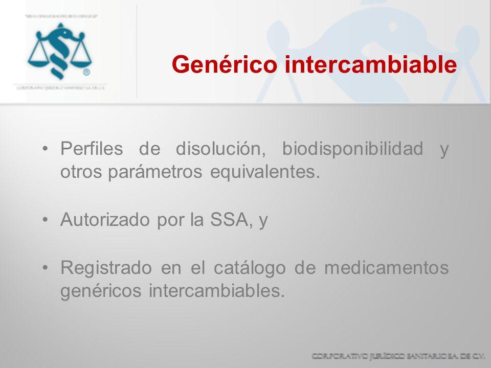 Genérico intercambiable Perfiles de disolución, biodisponibilidad y otros parámetros equivalentes. Autorizado por la SSA, y Registrado en el catálogo