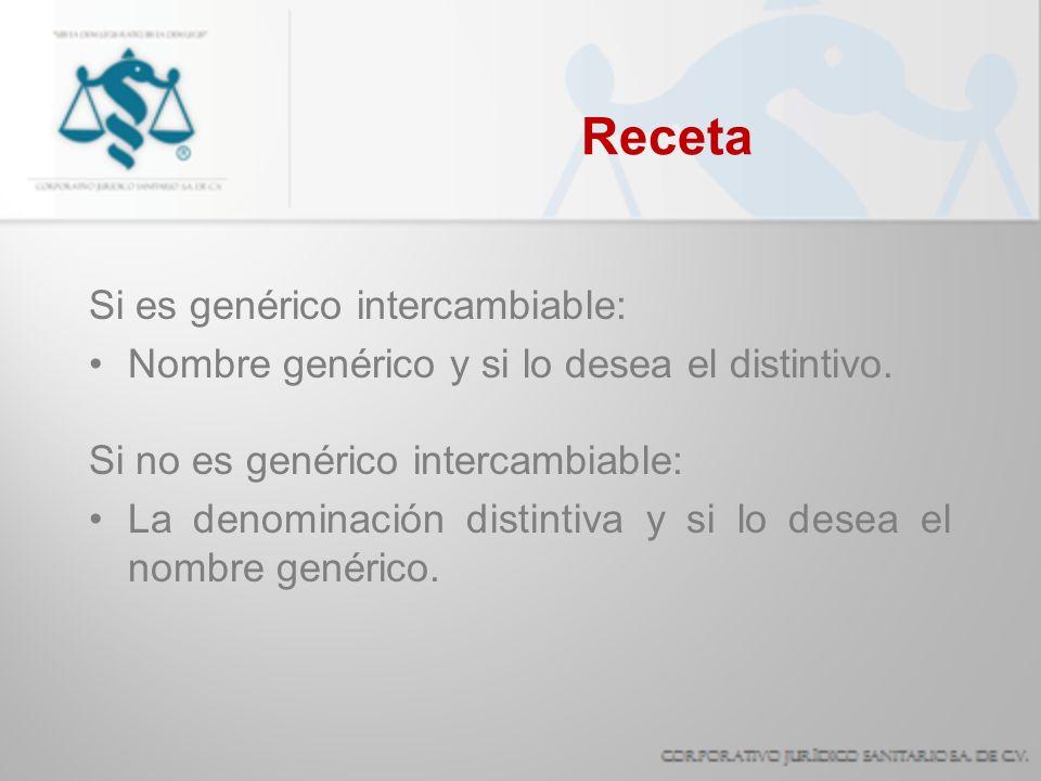 Receta Si es genérico intercambiable: Nombre genérico y si lo desea el distintivo. Si no es genérico intercambiable: La denominación distintiva y si l