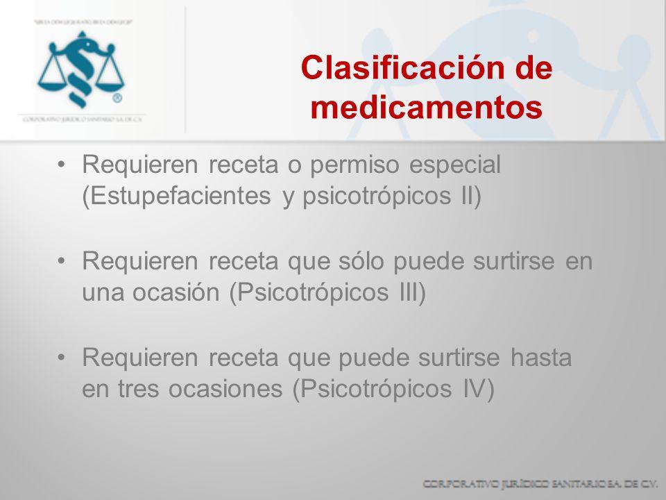Clasificación de medicamentos Requieren receta o permiso especial (Estupefacientes y psicotrópicos II) Requieren receta que sólo puede surtirse en una