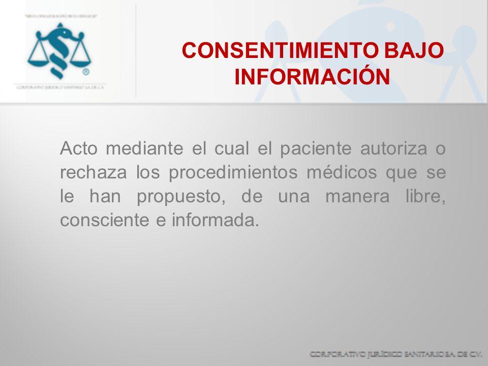 CONSENTIMIENTO BAJO INFORMACIÓN Acto mediante el cual el paciente autoriza o rechaza los procedimientos médicos que se le han propuesto, de una manera
