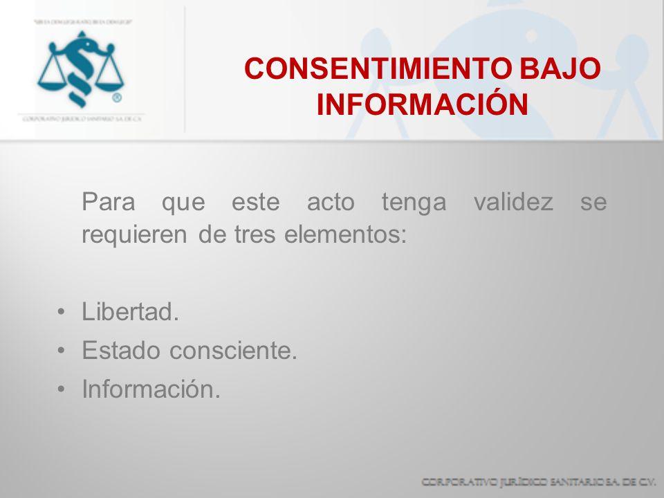 CONSENTIMIENTO BAJO INFORMACIÓN Para que este acto tenga validez se requieren de tres elementos: Libertad. Estado consciente. Información.
