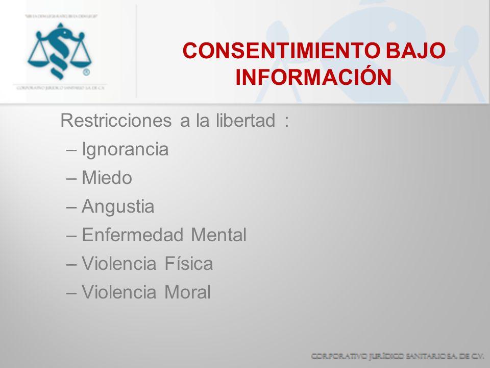CONSENTIMIENTO BAJO INFORMACIÓN Restricciones a la libertad : –Ignorancia –Miedo –Angustia –Enfermedad Mental –Violencia Física –Violencia Moral