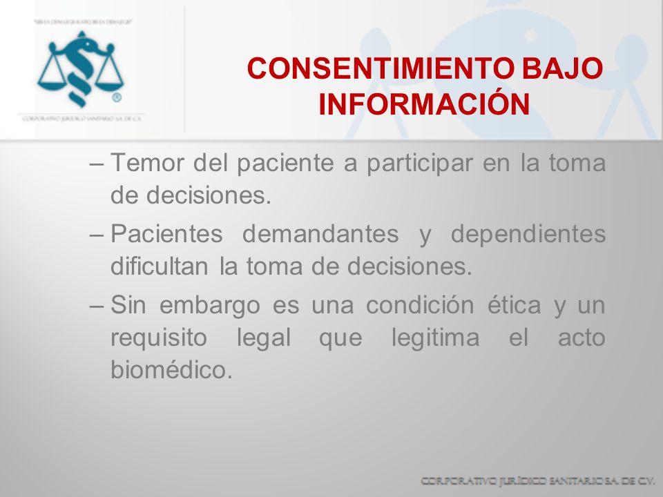 CONSENTIMIENTO BAJO INFORMACIÓN –Temor del paciente a participar en la toma de decisiones. –Pacientes demandantes y dependientes dificultan la toma de