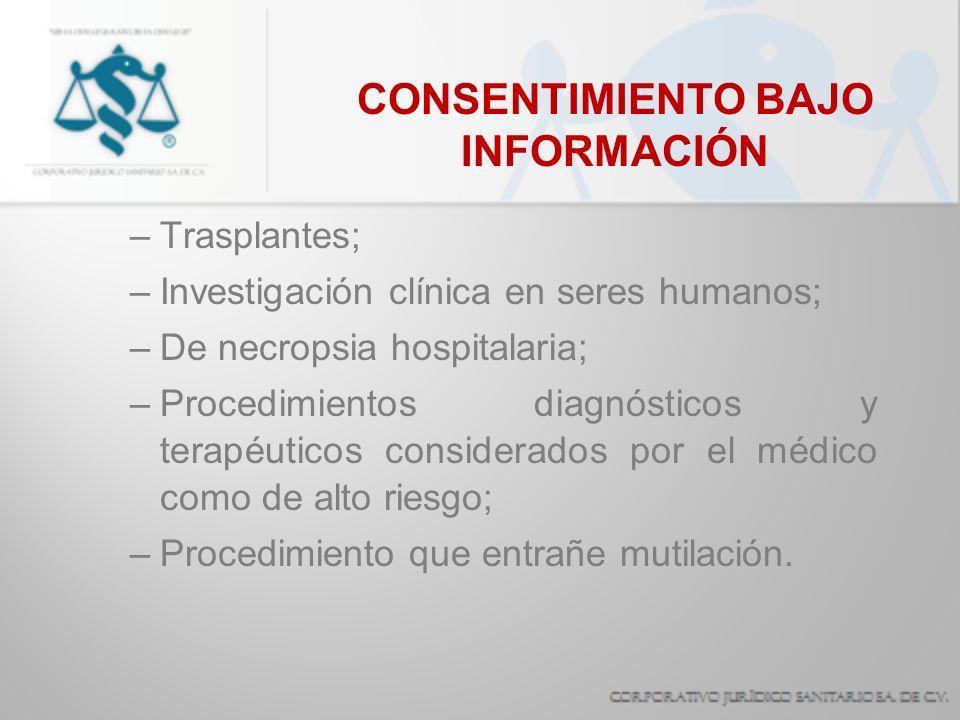 CONSENTIMIENTO BAJO INFORMACIÓN –Trasplantes; –Investigación clínica en seres humanos; –De necropsia hospitalaria; –Procedimientos diagnósticos y tera