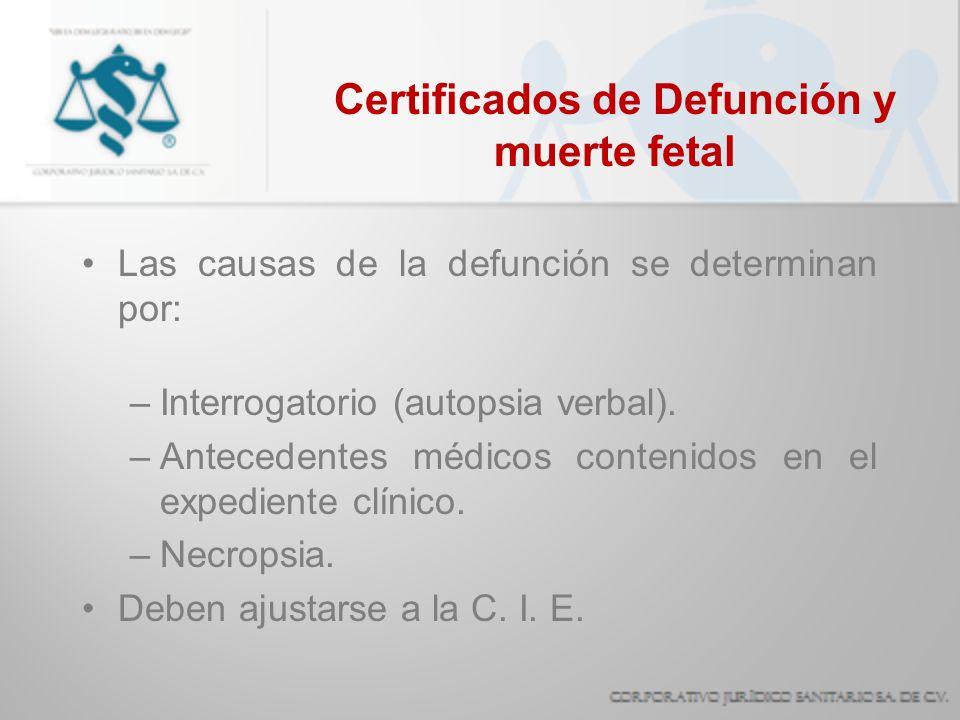 Certificados de Defunción y muerte fetal Las causas de la defunción se determinan por: –Interrogatorio (autopsia verbal). –Antecedentes médicos conten