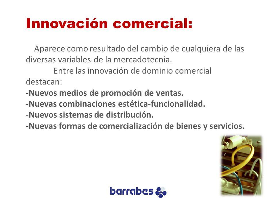 Innovación comercial: Aparece como resultado del cambio de cualquiera de las diversas variables de la mercadotecnia. Entre las innovación de dominio c