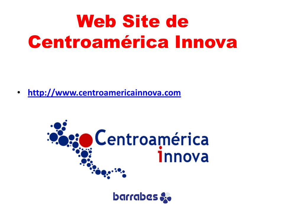 Web Site de Centroamérica Innova http://www.centroamericainnova.com
