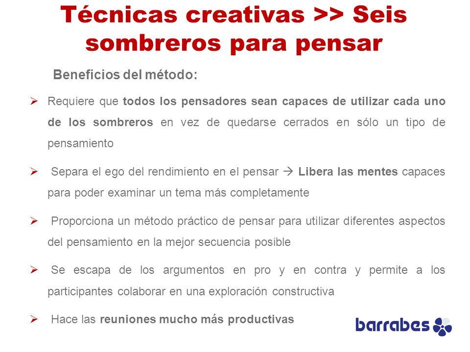 Técnicas creativas >> Seis sombreros para pensar Beneficios del método: Requiere que todos los pensadores sean capaces de utilizar cada uno de los som