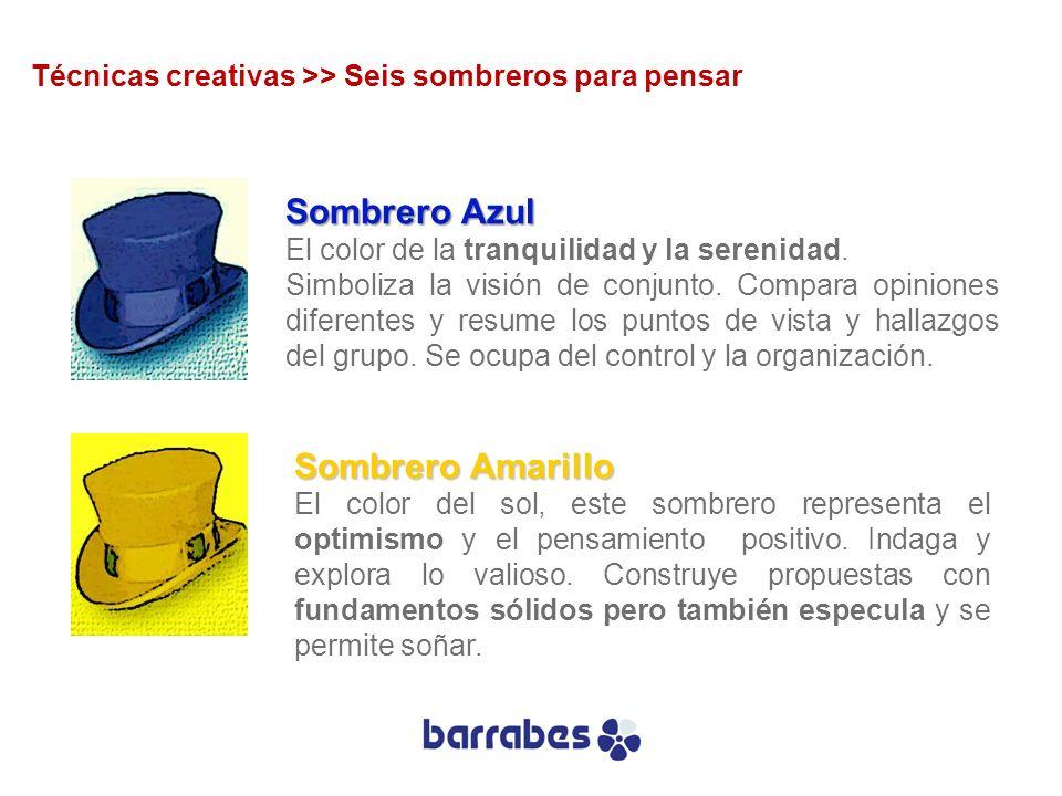 Sombrero Azul El color de la tranquilidad y la serenidad. Simboliza la visión de conjunto. Compara opiniones diferentes y resume los puntos de vista y