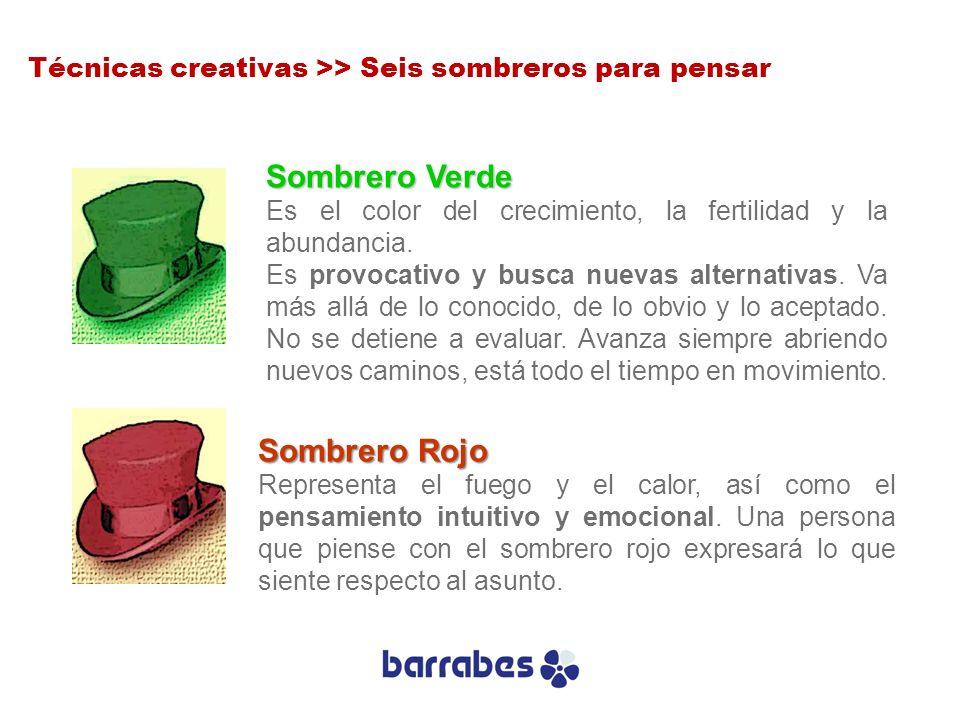 Sombrero Verde Es el color del crecimiento, la fertilidad y la abundancia. Es provocativo y busca nuevas alternativas. Va más allá de lo conocido, de