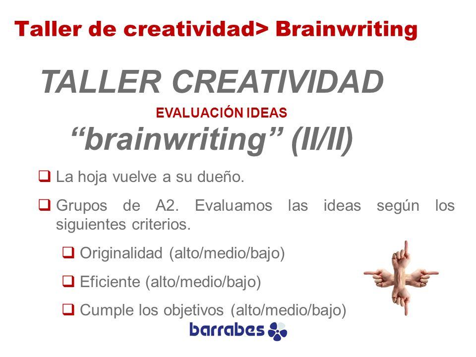 TALLER CREATIVIDAD brainwriting (II/II) La hoja vuelve a su dueño. Grupos de A2. Evaluamos las ideas según los siguientes criterios. Originalidad (alt