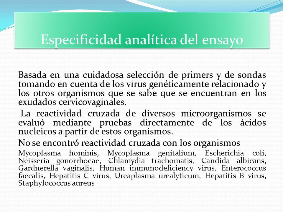 Especificidad analítica del ensayo Basada en una cuidadosa selección de primers y de sondas tomando en cuenta de los virus genéticamente relacionado y