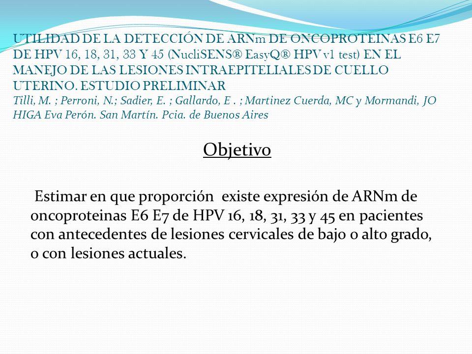 UTILIDAD DE LA DETECCIÓN DE ARNm DE ONCOPROTEINAS E6 E7 DE HPV 16, 18, 31, 33 Y 45 (NucliSENS® EasyQ® HPV v1 test) EN EL MANEJO DE LAS LESIONES INTRAE