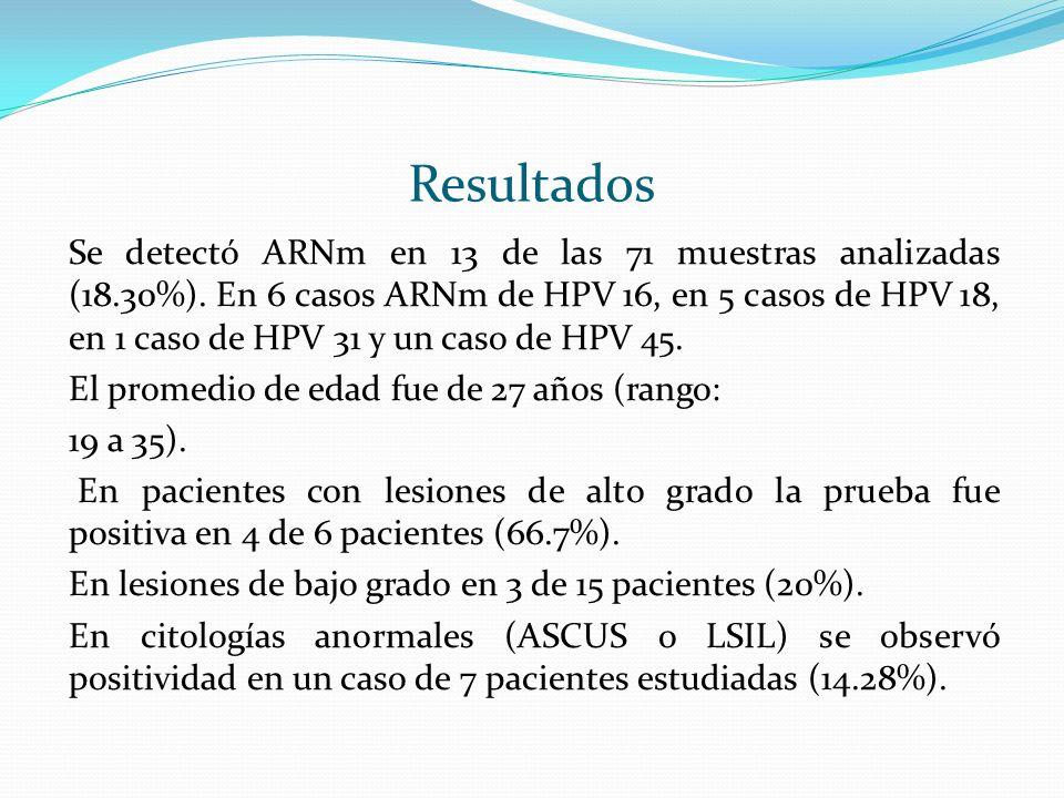 Se detectó ARNm en 13 de las 71 muestras analizadas (18.30%). En 6 casos ARNm de HPV 16, en 5 casos de HPV 18, en 1 caso de HPV 31 y un caso de HPV 45