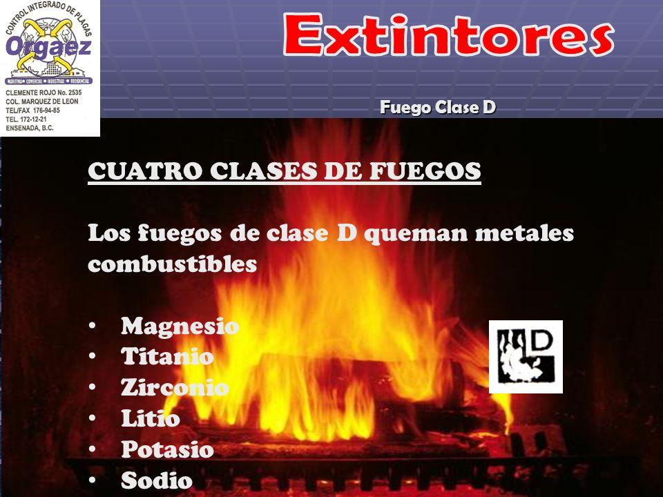 Fuego Clase D CUATRO CLASES DE FUEGOS Los fuegos de clase D queman metales combustibles Magnesio Titanio Zirconio Litio Potasio Sodio