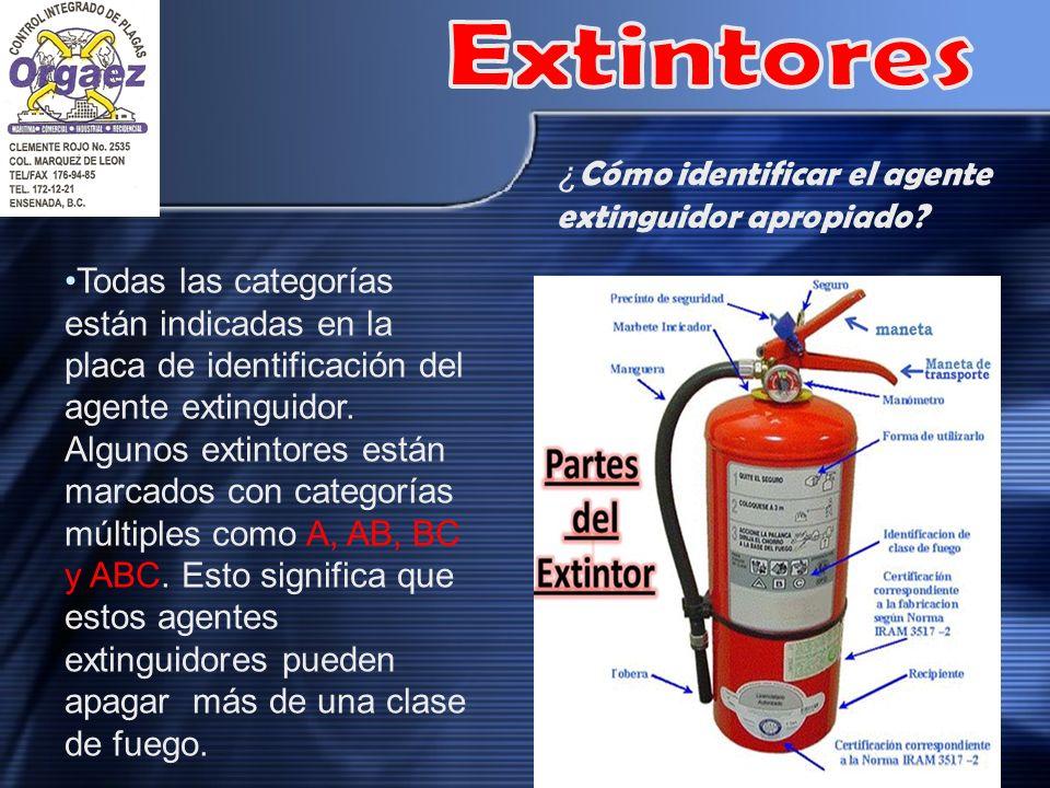¿ Cómo identificar el agente extinguidor apropiado? Todas las categorías están indicadas en la placa de identificación del agente extinguidor. Algunos