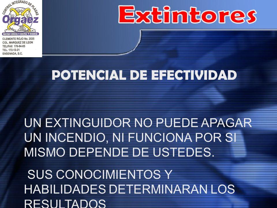 POTENCIAL DE EFECTIVIDAD UN EXTINGUIDOR NO PUEDE APAGAR UN INCENDIO, NI FUNCIONA POR SI MISMO DEPENDE DE USTEDES.