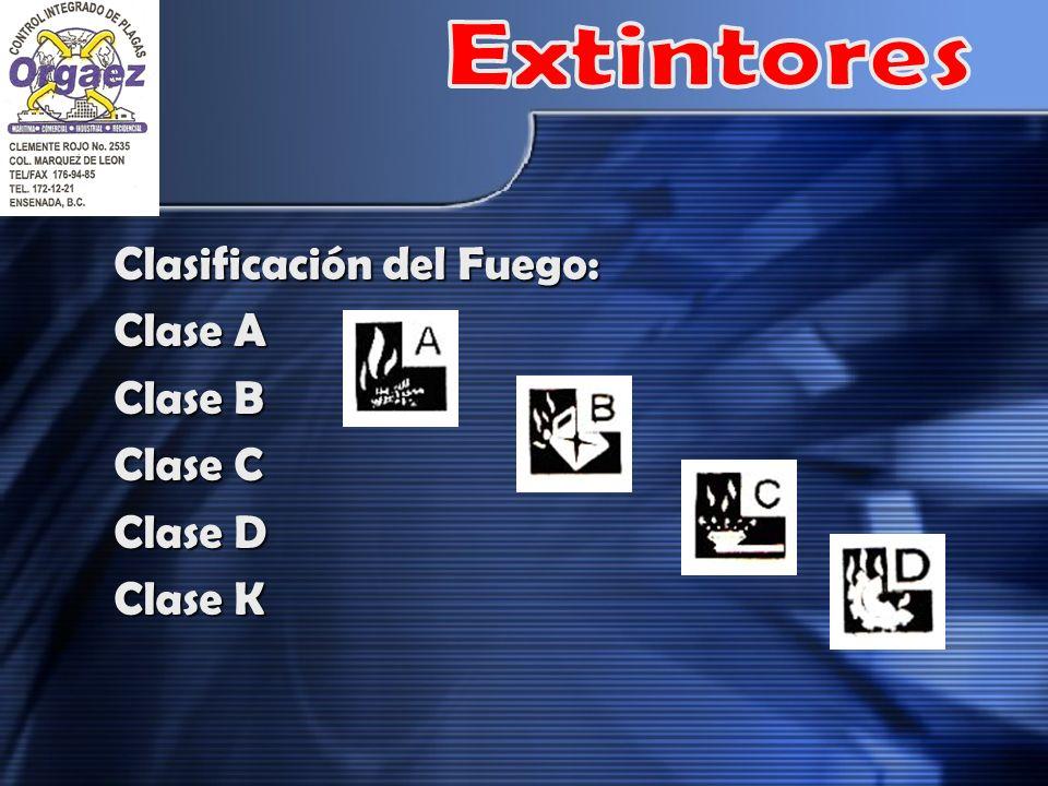 Clasificación del Fuego: Clase A Clase B Clase C Clase D Clase K