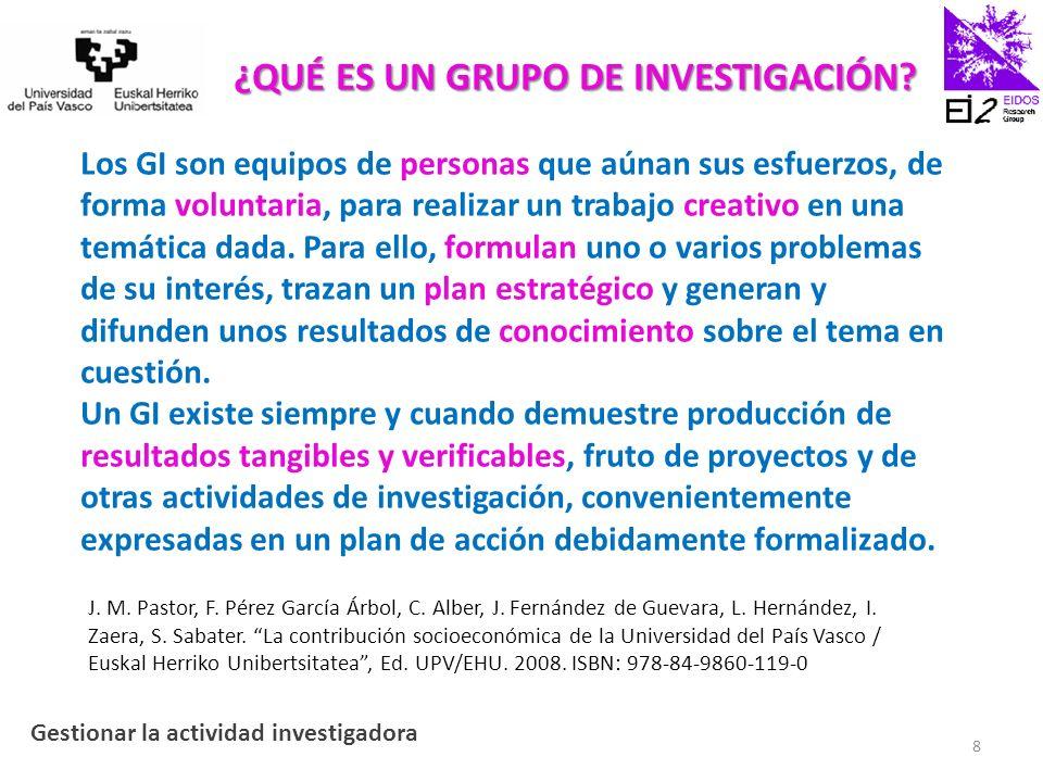 Gestión integral de un grupo de investigación bajo los criterios de calidad del modelo EFQM todo lo que hay que hacer para poder investigar en la universidad Gestionar la actividad investigadora 9