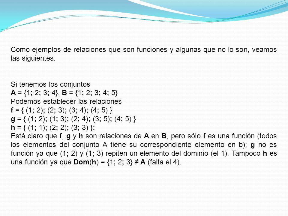 Como ejemplos de relaciones que son funciones y algunas que no lo son, veamos las siguientes: Si tenemos los conjuntos A = {1; 2; 3; 4}, B = {1; 2; 3;