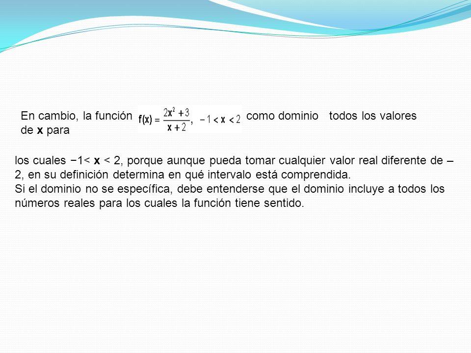 En cambio, la función tiene c como dominio todos los valores de x para los cuales 1< x < 2, porque aunque pueda tomar cualquier valor real diferente d