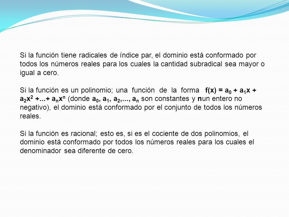 Si la función tiene radicales de índice par, el dominio está conformado por todos los números reales para los cuales la cantidad subradical sea mayor