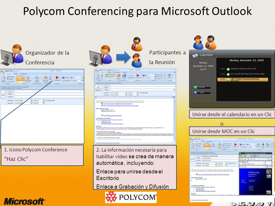 Polycom Conferencing para Microsoft Outlook Unirse desde el calendario en un Clic 2. La información necesaria para habilitar video se crea de manera a