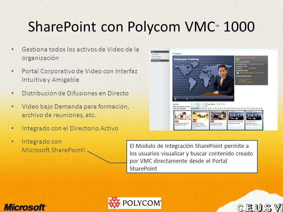 SharePoint con Polycom VMC 1000 Gestiona todos los activos de Video de la organización Portal Corporativo de Video con Interfaz Intuitiva y Amigable D