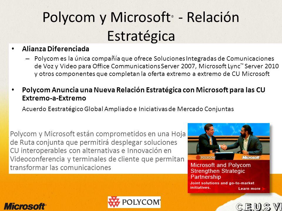 Polycom y Microsoft ® - Relación Estratégica Alianza Diferenciada – Polycom es la única compañía que ofrece Soluciones Integradas de Comunicaciones de