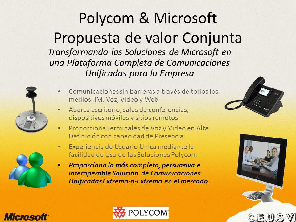 Polycom & Microsoft Propuesta de valor Conjunta Comunicaciones sin barreras a través de todos los medios: IM, Voz, Video y Web Abarca escritorio, sala