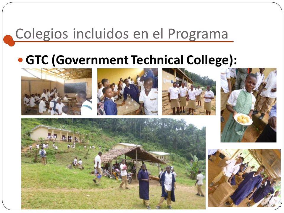 Colegios incluidos en el Programa GTC (Government Technical College): Localidad: Widikum Escuela pública de formación técnica que se encuentra a unos