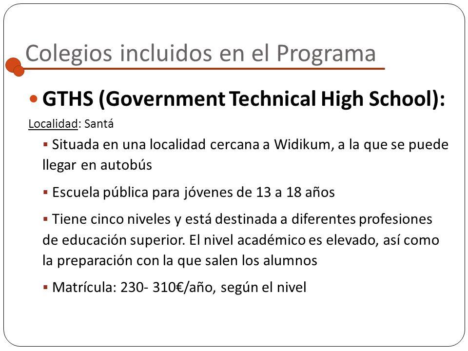Colegios incluidos en el Programa GBHS (Government Bilingual High School):