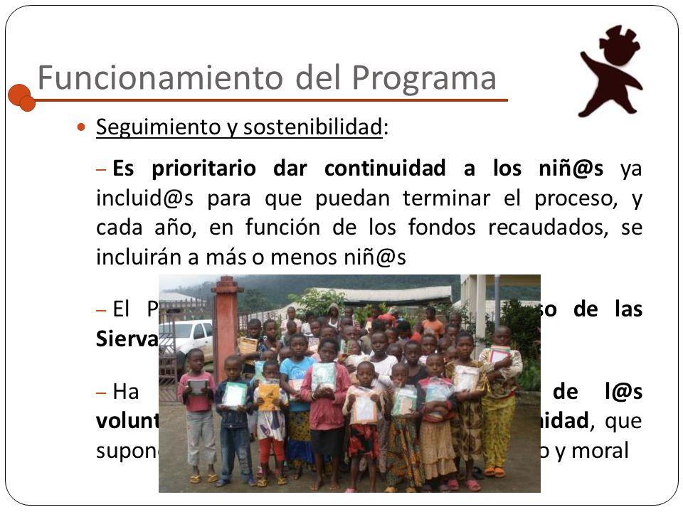 Funcionamiento del Programa Economía: – El dinero nunca se entrega a las familias; las hermanas se encargan personalmente – El 25% de lo recaudado es