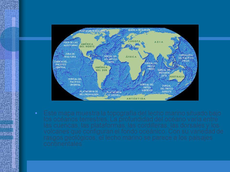 Este mapa muestra la topografía del lecho marino situado bajo los océanos terrestres. La profundidad del océano varía entre las cuencas, las plataform