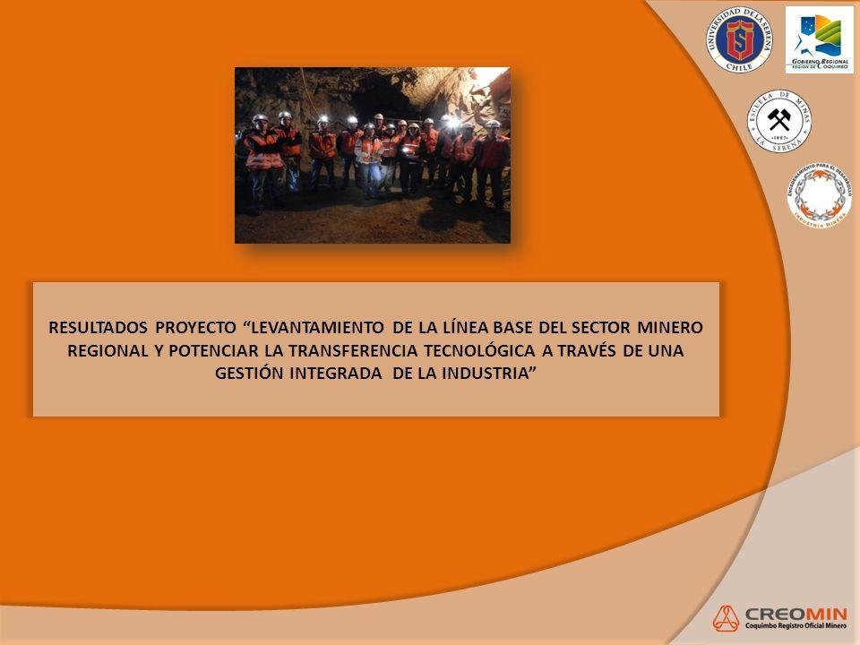 RESULTADOS PROYECTO LEVANTAMIENTO DE LA LÍNEA BASE DEL SECTOR MINERO REGIONAL Y POTENCIAR LA TRANSFERENCIA TECNOLÓGICA A TRAVÉS DE UNA GESTIÓN INTEGRA