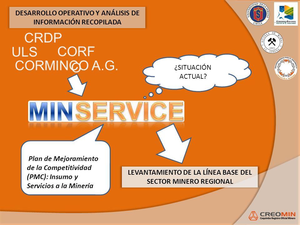 DESARROLLO OPERATIVO Y ANÁLISIS DE INFORMACIÓN RECOPILADA ¿SITUACIÓN ACTUAL? Plan de Mejoramiento de la Competitividad (PMC): Insumo y Servicios a la