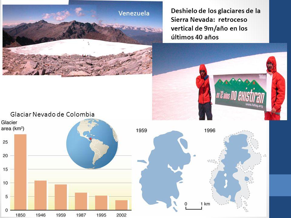 Glaciar Nevado de Colombia Deshielo de los glaciares de la Sierra Nevada: retroceso vertical de 9m/año en los últimos 40 años Venezuela