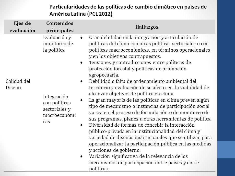 Ejes de evaluación Contenidos principales Hallazgos Calidad del Diseño Evaluación y monitoreo de la política Gran debilidad en la integración y articu