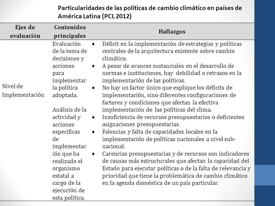 Ejes de evaluación Contenidos principales Hallazgos Nivel de Implementación Evaluación de la toma de decisiones y acciones para implementar la polític