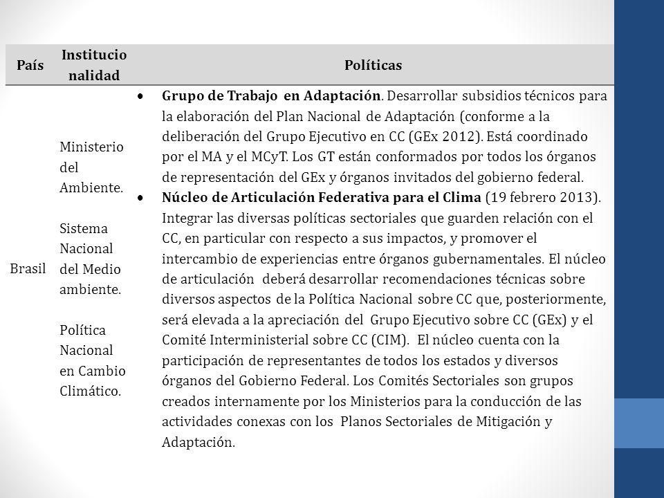 País Institucio nalidad Políticas Brasil Ministerio del Ambiente. Sistema Nacional del Medio ambiente. Política Nacional en Cambio Climático. Grupo de