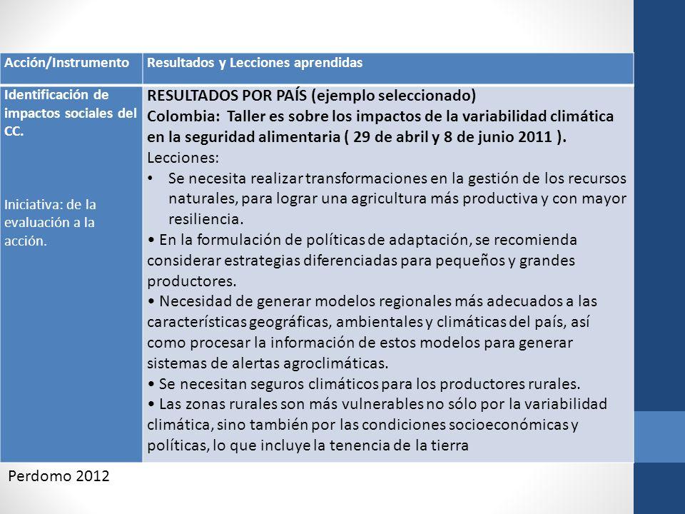 Acción/InstrumentoResultados y Lecciones aprendidas Identificación de impactos sociales del CC. Iniciativa: de la evaluación a la acción. RESULTADOS P
