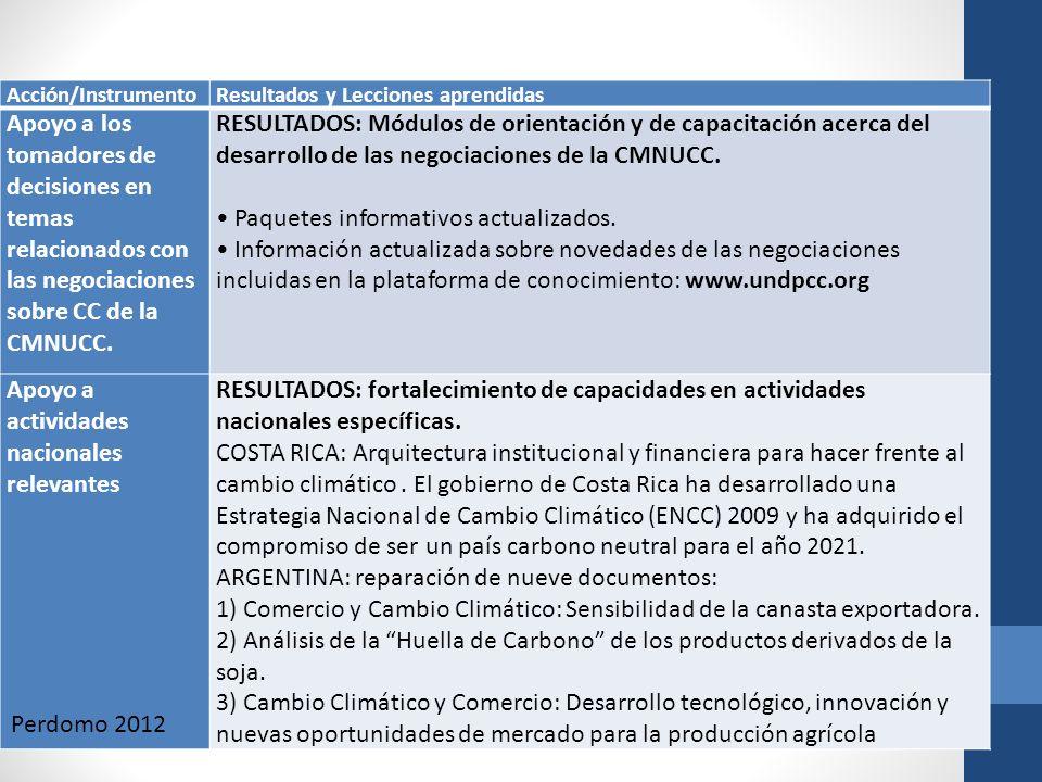 Acción/InstrumentoResultados y Lecciones aprendidas Apoyo a los tomadores de decisiones en temas relacionados con las negociaciones sobre CC de la CMN