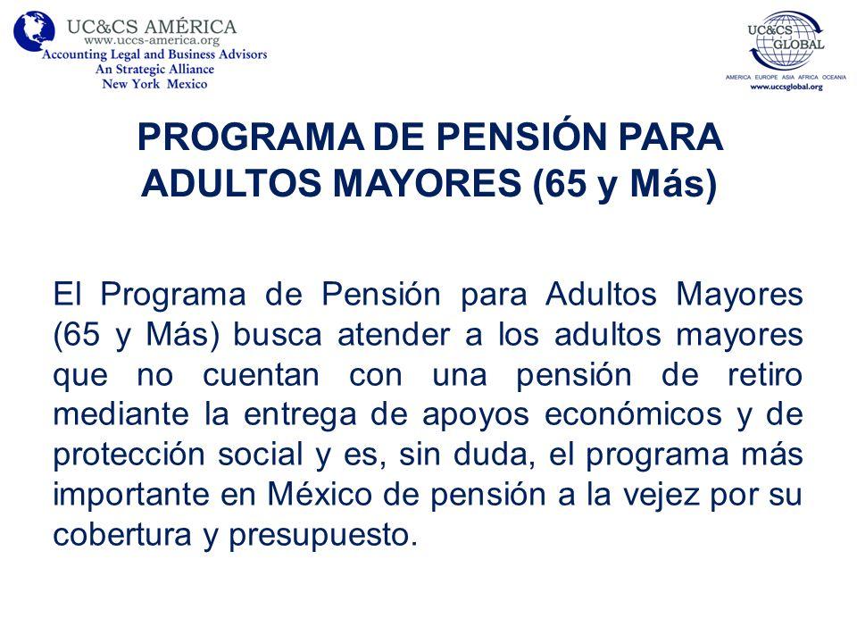 PROGRAMA DE PENSIÓN PARA ADULTOS MAYORES (65 y Más) El Programa de Pensión para Adultos Mayores (65 y Más) busca atender a los adultos mayores que no cuentan con una pensión de retiro mediante la entrega de apoyos económicos y de protección social y es, sin duda, el programa más importante en México de pensión a la vejez por su cobertura y presupuesto.