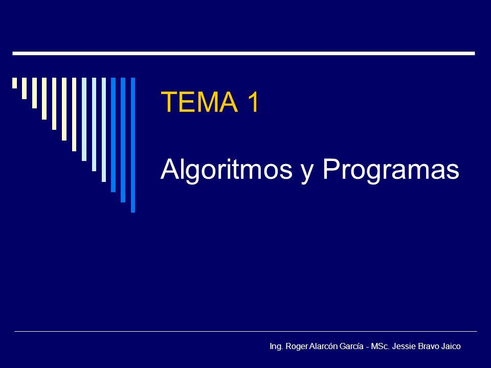 Ing. Roger Alarcón García - MSc. Jessie Bravo Jaico TEMA 1 Algoritmos y Programas