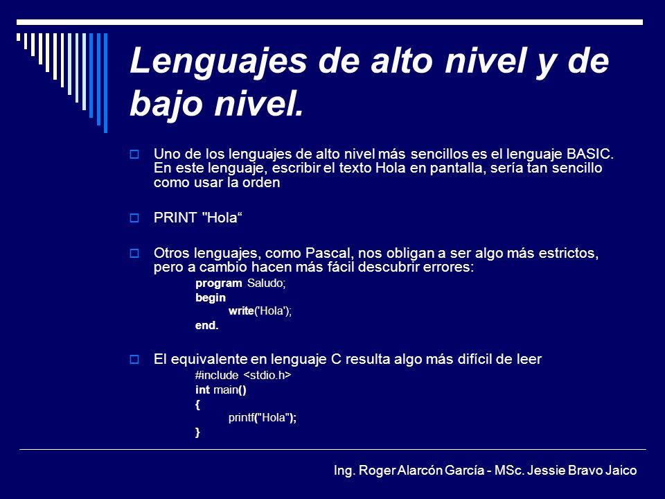 Ing.Roger Alarcón García - MSc. Jessie Bravo Jaico Lenguajes de alto nivel y de bajo nivel.